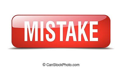 mistake red square 3d realistic isolated web button