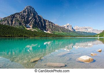 mistaya, lago, panorama
