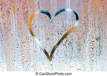 Drown heart on the glass , symbol of love