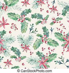 mistelten, berries, mønster, seamless, watercolor, ferie, rød