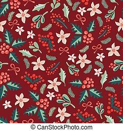 misteltoes, e, natal, flores, ligado, um, escuro, vermelho, experiência.