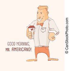 Mister Caffe Americano - Cartoon character Mister Caffe...