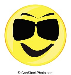 Mister Cool Smile Face Button Isolated