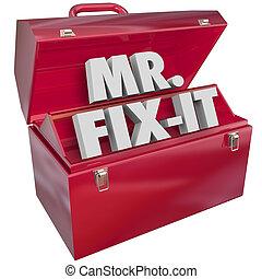 Mister Mr Fix-It 3d Word Toolbox Handyman - Mr. Fix-It words...