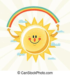 Vector illustration of sun holding a rainbow.