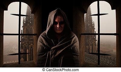 misterie, monnik, met, de, runes, op, de, gezicht