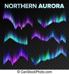 misterie, polair, atmosfeer, set, noorden, noordelijk, borealis, phenomenon., hemel, dageraad, lights., magisch, illustratie, transparant, realistisch, black , achtergrond., vector., nacht, glanzend, abstract