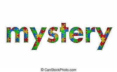 misterie, raadsel, oplossing, illustratie, stukken, opgeloste, geheim, probleem, 3d
