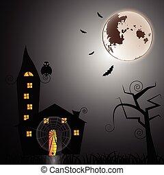 misterio, casa, en, noche de halloween