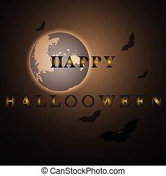 misterio, feliz, halloween, luna, noche