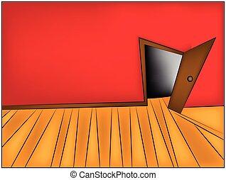 misterio, habitación, oficina, door., ilustración, caricatura, vector, pasillo, hogar, abierto, o