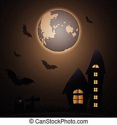 misterio, halloween, luna, noche