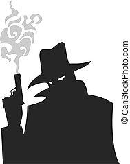 misterio, hombre, arma de fuego