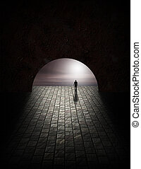 misterio, hombre, en, túnel