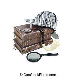 misterio, tubo, reloj, bolsillo, libros, sombrero, lupa