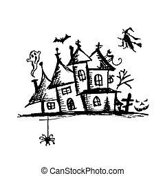 misterio, viejo, halloween, casa, noche