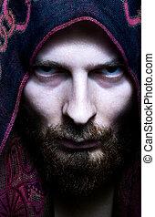 misteriosa, assustador, olhar, homem