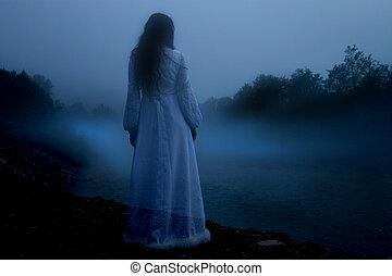 misteriosa, branca, mulher, vestido