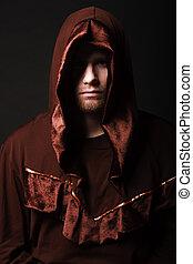 misteriosa, católico, monk., tiro estúdio