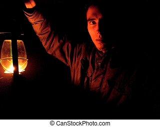 misteriosa, lâmpada, homem