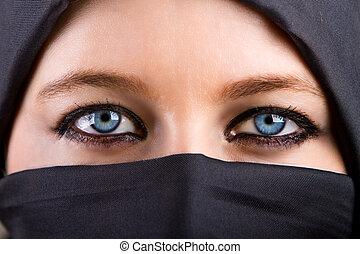 misteriosa, olhos, mulher