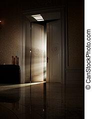 misteriosa, raios luz, atrás de, porta