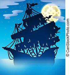 misterioso, barco, silueta, noche