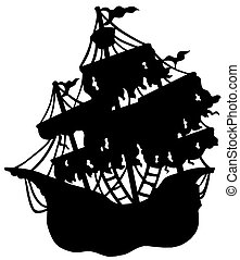 misterioso, barco, silueta