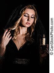 misterioso, candela, donna, giovane