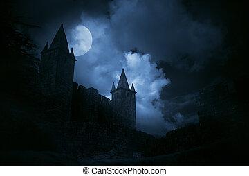 misterioso, castillo, medieval