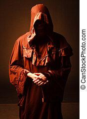 misterioso, católico, monk.