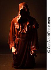 misterioso, católico, monk., tiro del estudio