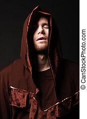 misterioso, cattolico, monk., colpo studio