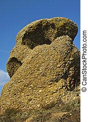 misterioso, causado, formaciones de roca, coastline., resultado, ondas, por, erosión, viento