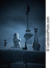 misterioso, cementerio, ángel