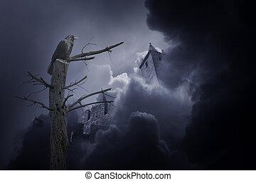 misterioso, corvo, castello, medievale