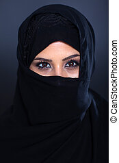 misterioso, donna, musulmano