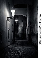 misterioso, estrecho, callejón, con, linternas