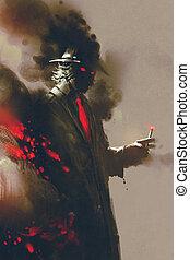 misterioso, fumador