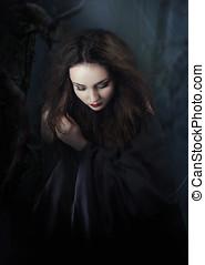misterioso, mujer, en, forest., noche
