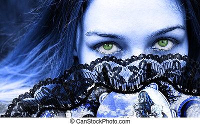 misterioso, occhi, verde