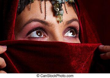 misterioso, orientale, donna