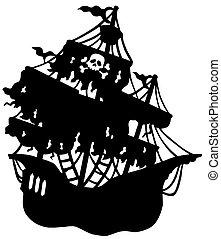 misterioso, pirata, nave, silhouette