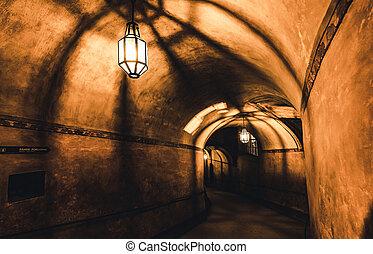 misterioso, prigione sotterranea, corridoio, vecchio