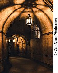 misterioso, prigione sotterranea, vecchio, corridoio
