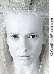 misterioso, retrato, mujer, albino