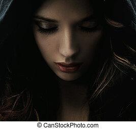 misterioso, retrato, mujer