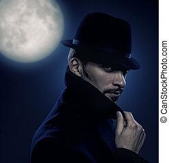 misterioso, retrato, retro, hombre