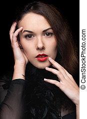 misterioso, ritratto, donna, closeup, giovane