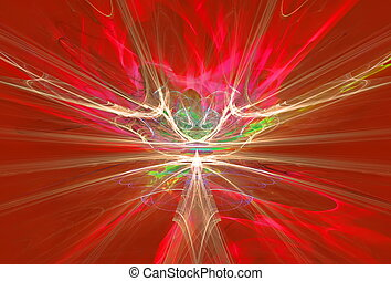 misterioso, straniero, forma, magnetico, campi, rosso, sky., fractal, arte, grafica